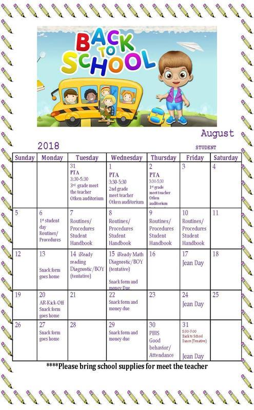 August 2018 Student Calendar