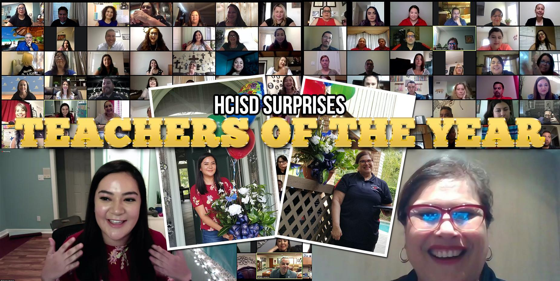 Collage of teachers for special teacher of the year announcement photo of teachers smiling