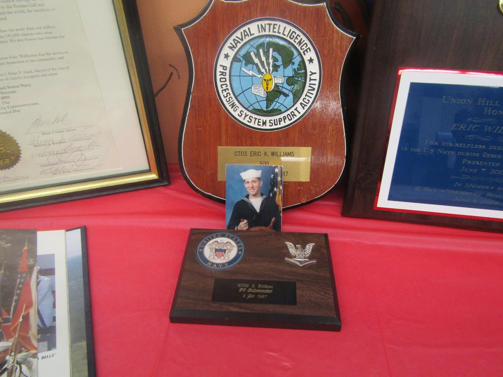 dr. williams navy records and awards at the memorabilia table