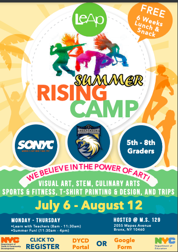 summer rising camp july 6-august 12