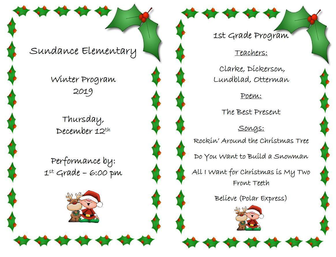 1st Grade Winter Program