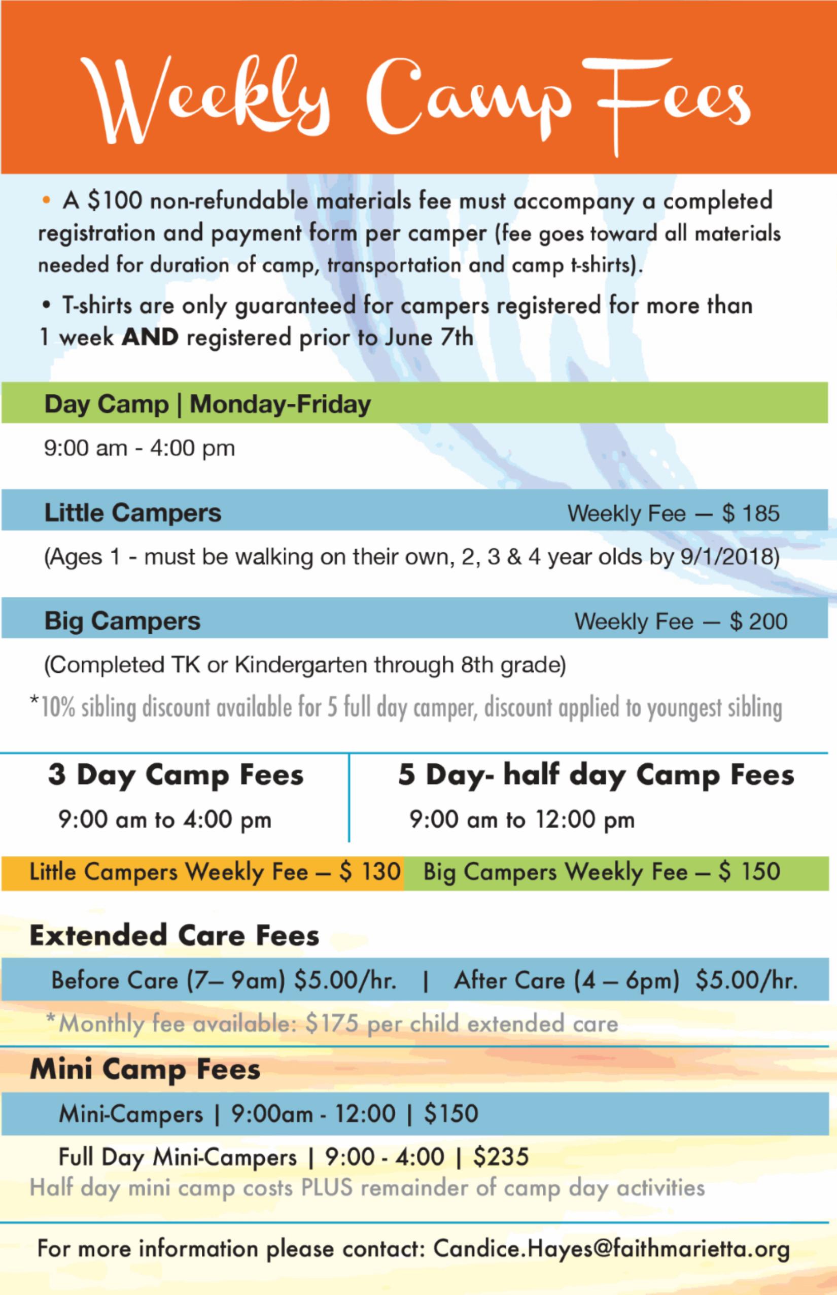 Camp Faith Fees – Summer Camp Faith – Faith Lutheran School