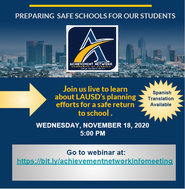 Achievement Network TOWNHALL MEETING! Wednesday, November 18th, 2020 @ 5:00 PM! Thumbnail Image