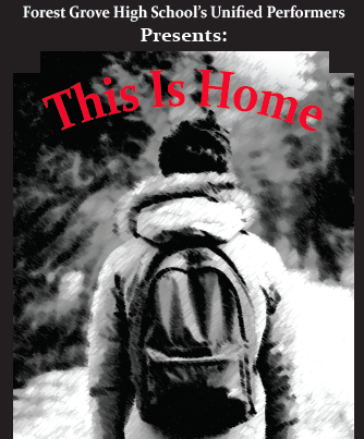 Play poster featuring a student with a backpack walking away from the camera