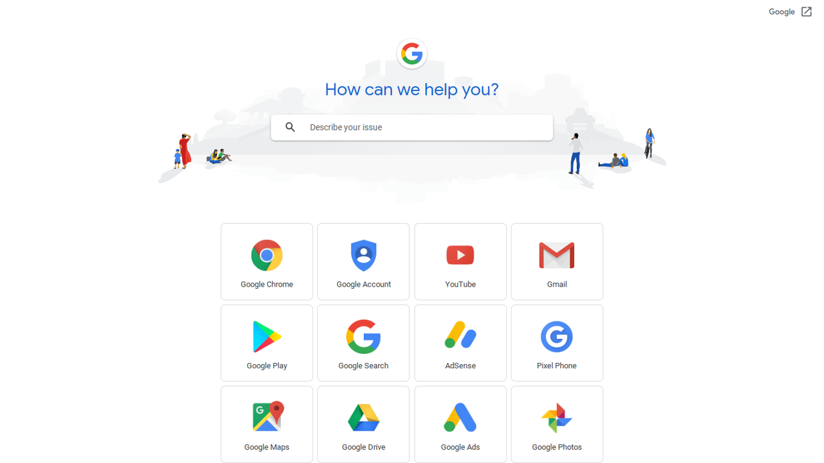 Screenshot of Google Support Page