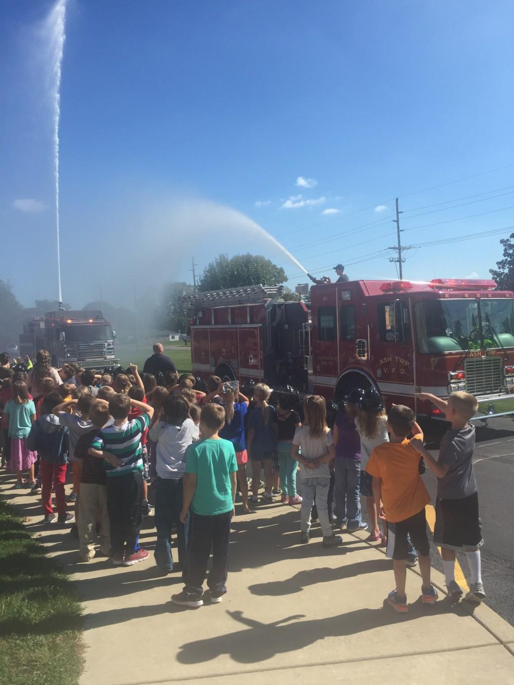 Fire Truck spraying water