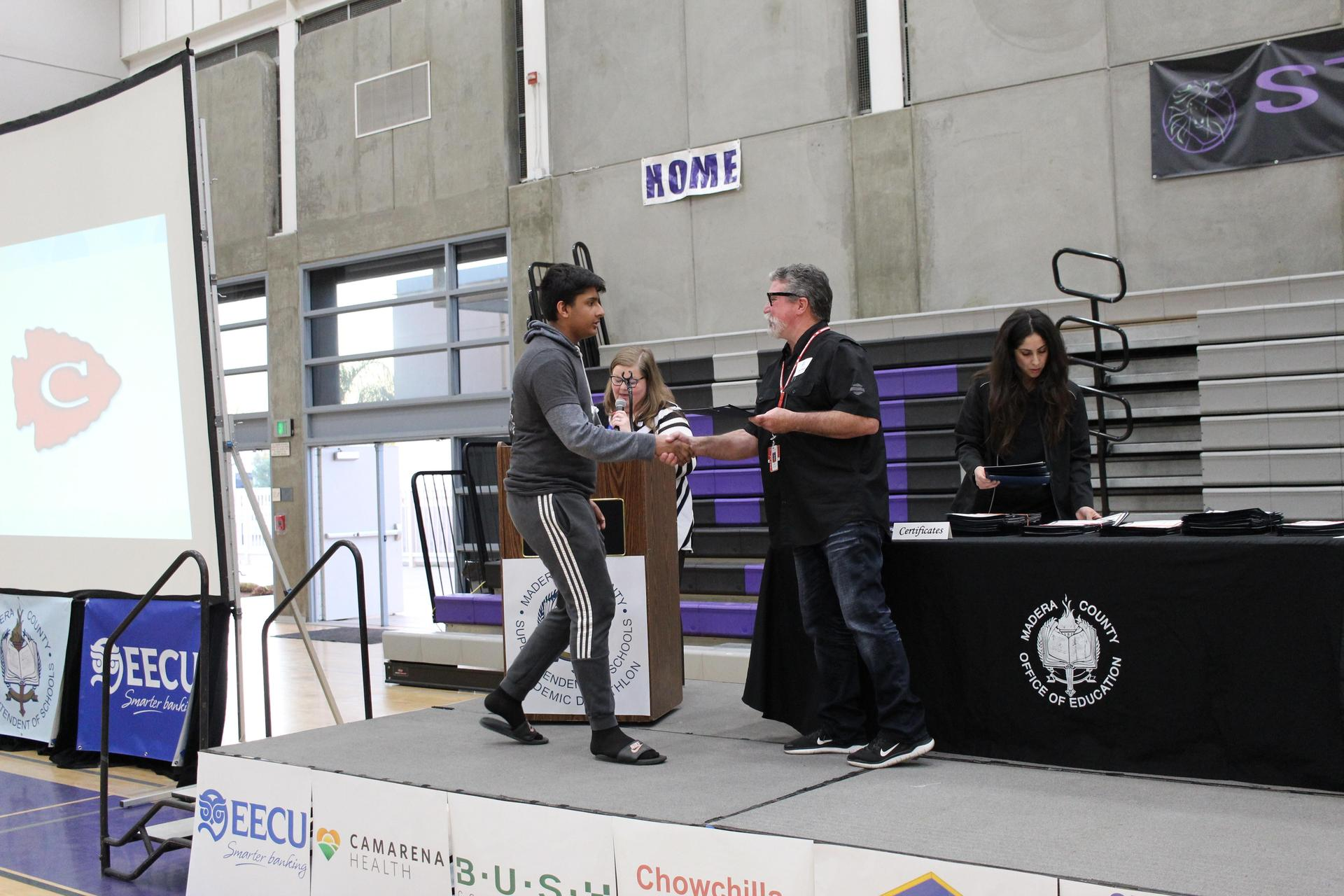 Rajdeep Singh gets participation award from CUHSD Superintendent Ron Seals