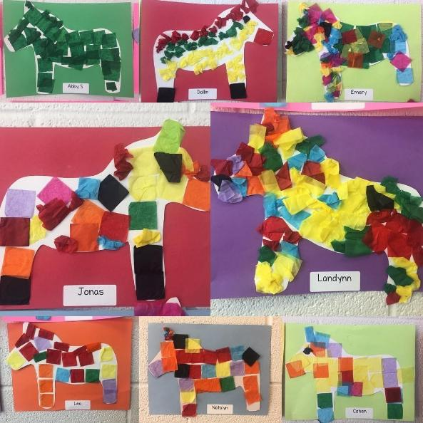 Pinata art created by kindergarten students