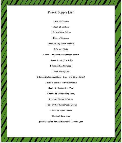 PreK supply List