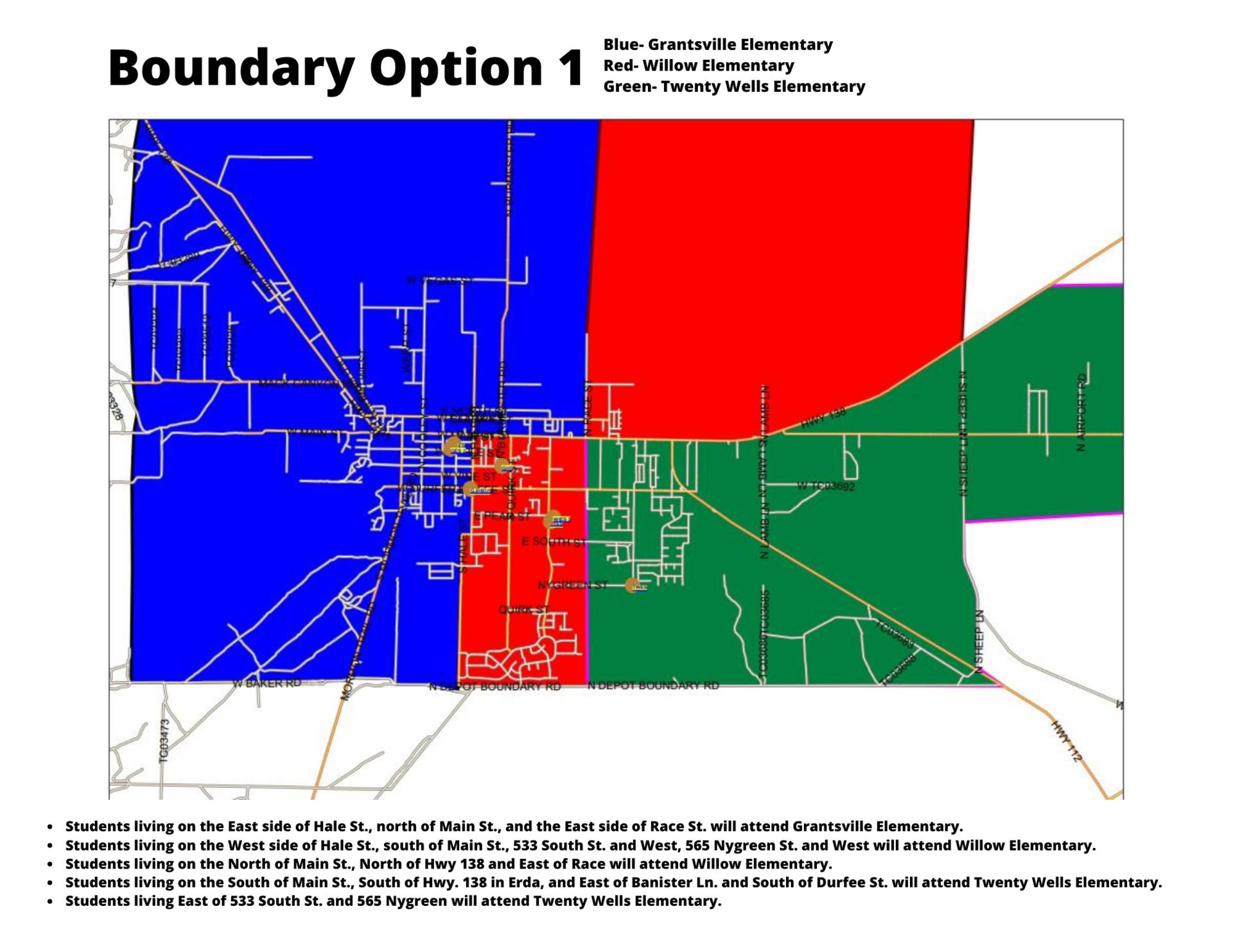 Map of boundary option 1
