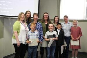 Florida Mesa students and staff being recognized by the BOE