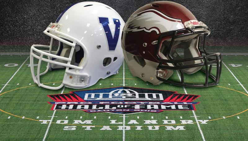 two football helmets pictured on a football field