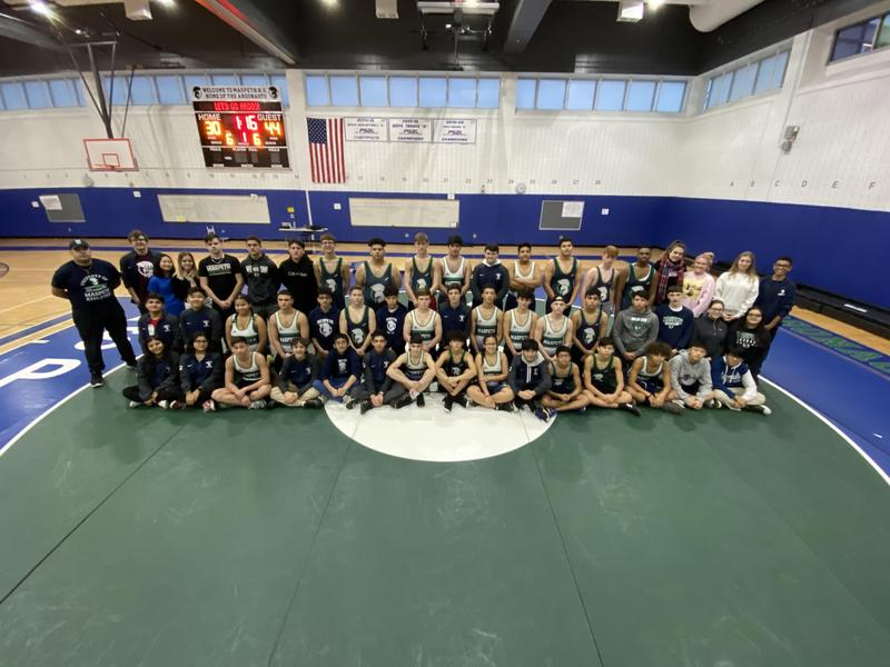 Boys Varsity Wrestlers Pin First Win @ Maspeth High School Featured Photo