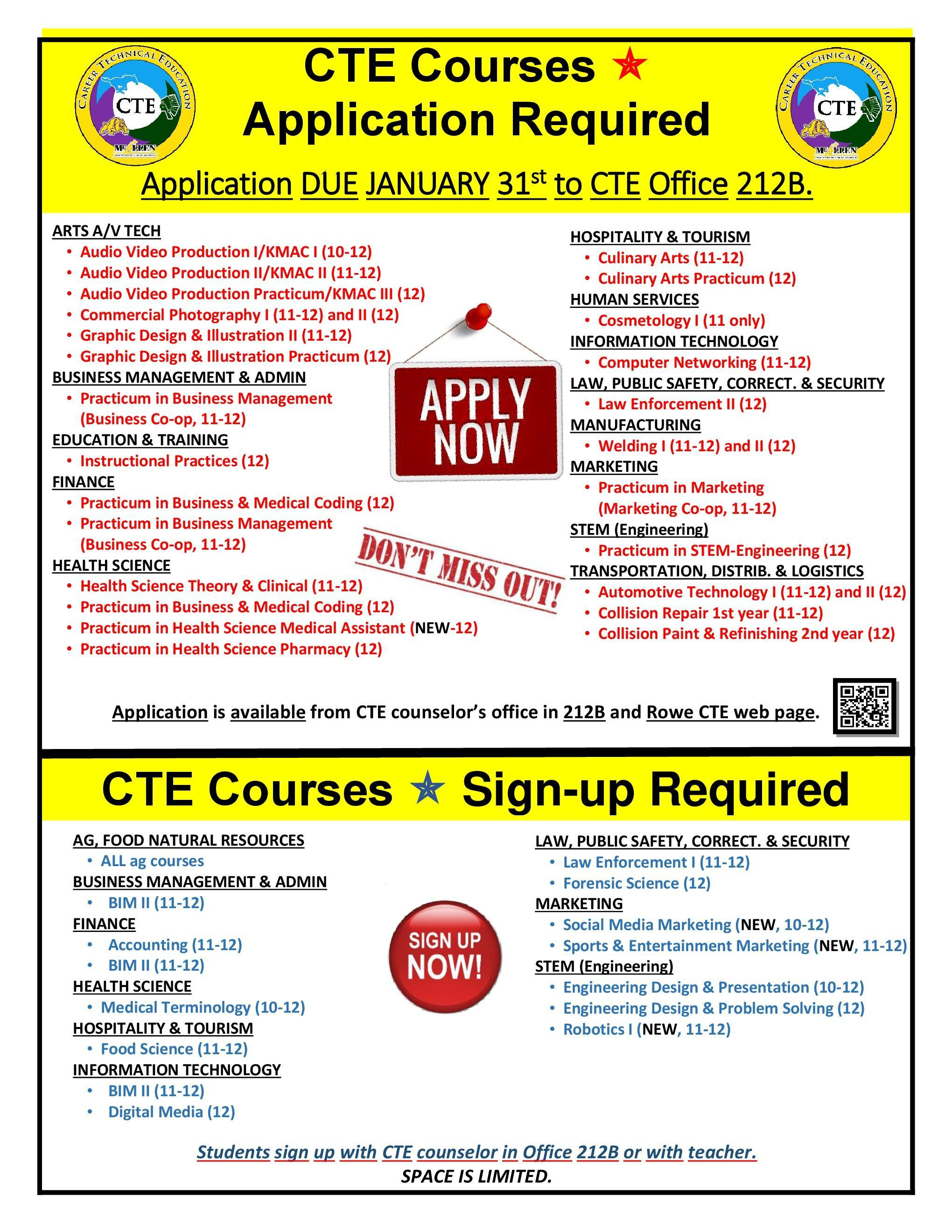CTE Application and Sign-up Lists