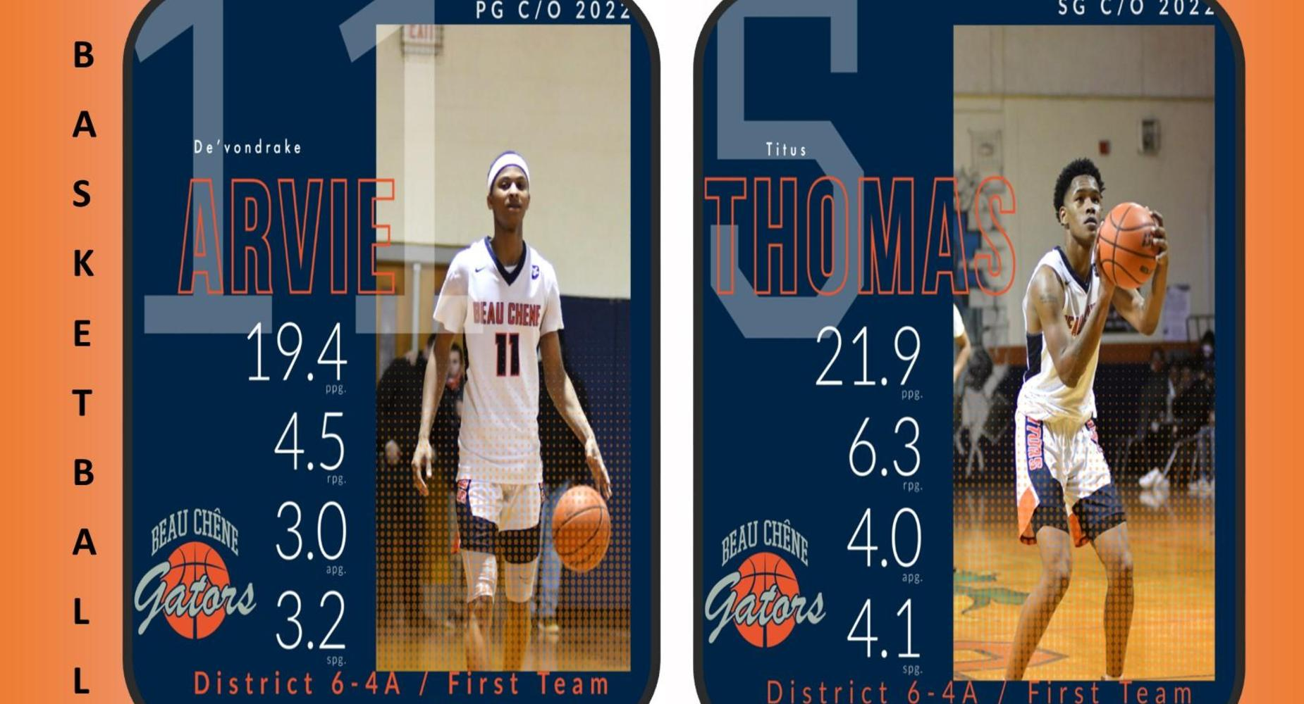 Basketball 2020-2021:  All District- De'vondrake Arvie & Titus Thomas