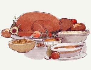 Thanksgiving dinner turkey and side dishes