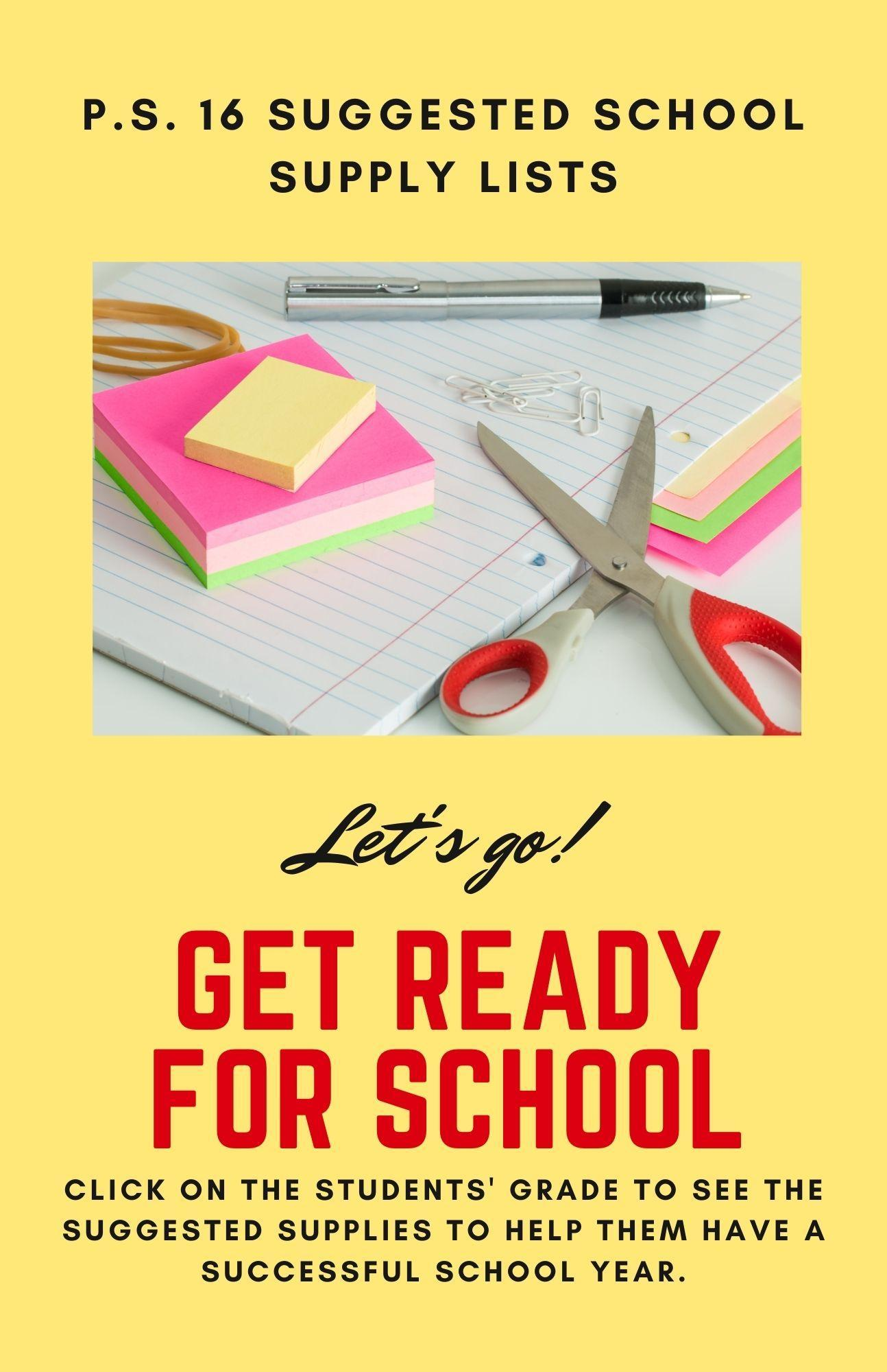 suggested school supply flyer. Includes a notebook and basic school supplies. Text on the picture suggests supplies are just a suggestion and will aid students in having a successful school year.