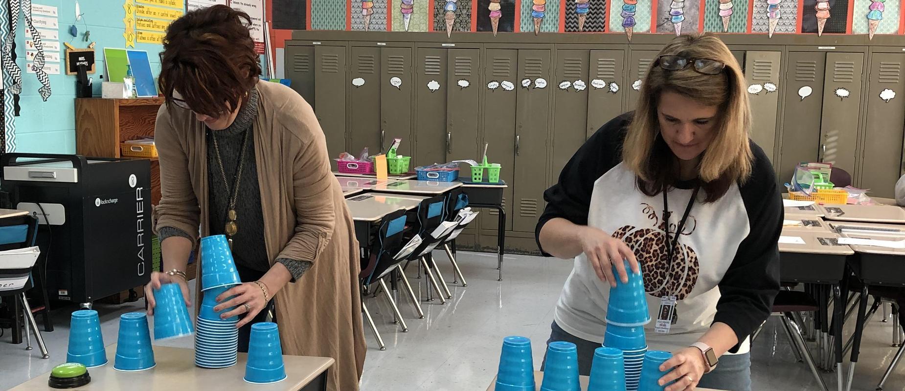 Teachers doing STEM activity