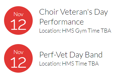 HMS Veterans Day Info