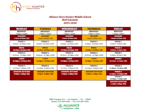 2019- 2020 Bell Schedule and Alliance Year Round Calendar Thumbnail Image