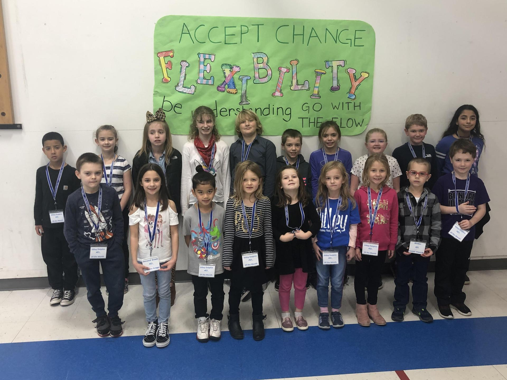 Picture of Dilley Dolphin's of the month for Flexibility.