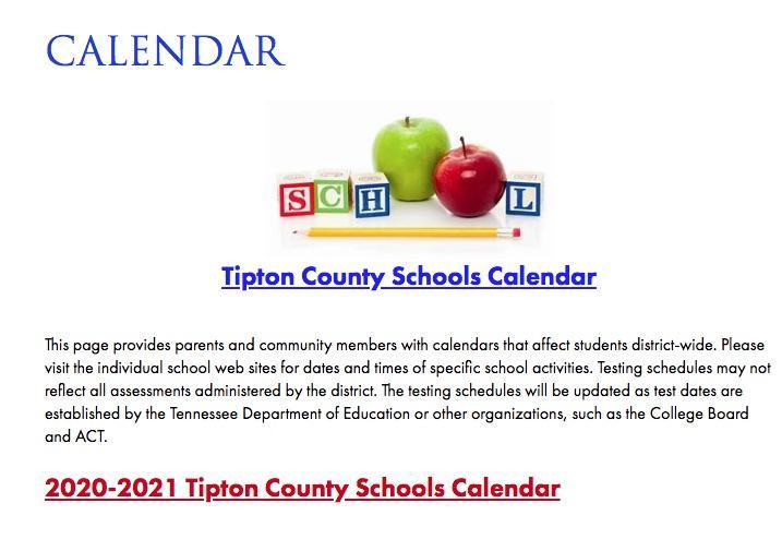 Tipton County Schools 20-21 Calendar Adopted July 9th, 2020