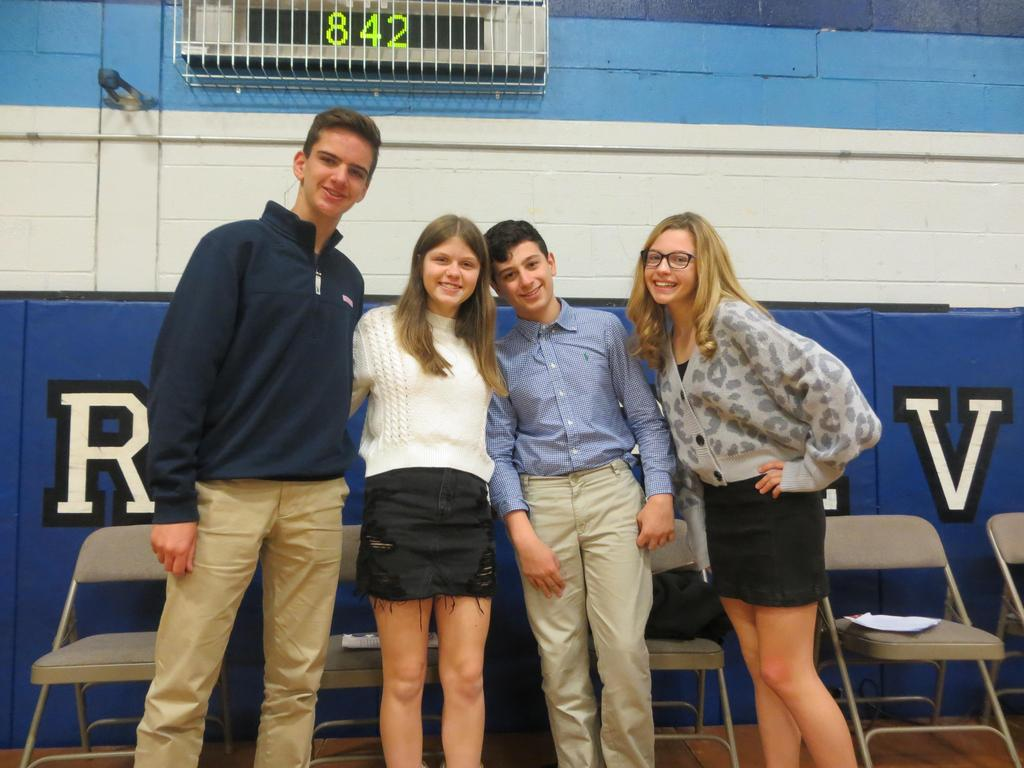 Photo of Roosevelt students who spoke at Veterans Day Assembly.
