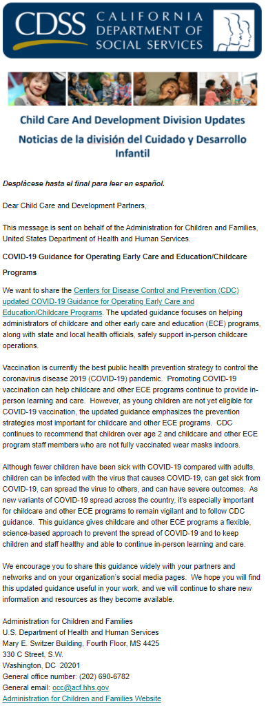 CDSS Child Care And Development Division Updates