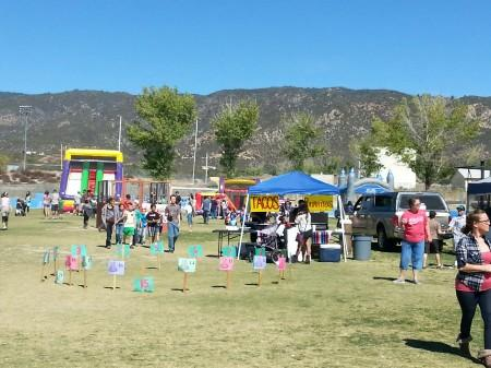 A view of games and food vendors
