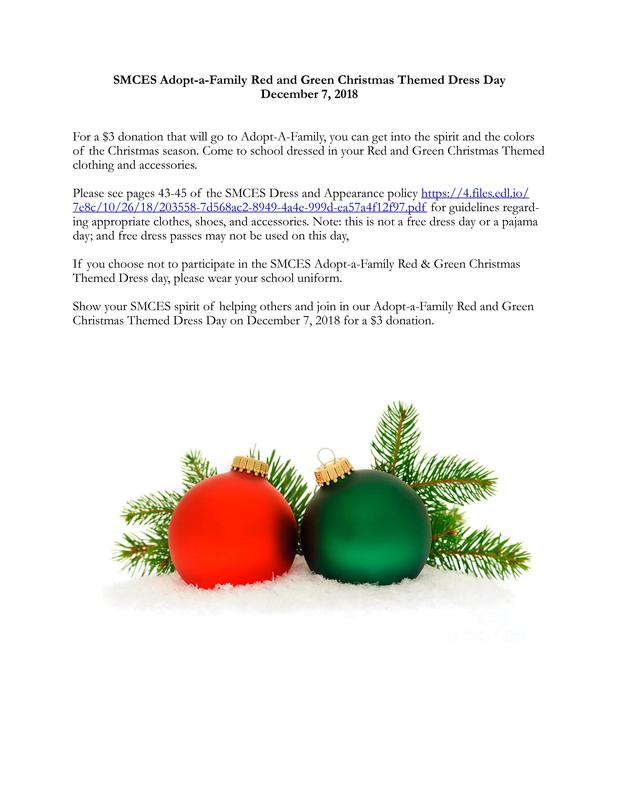 SMCES Adopt-a-Family Red and Green Christmas Themed Dress Day December 7, 2018 Featured Photo