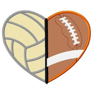half a football and half a volleyball forming a heart
