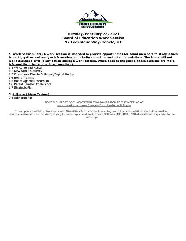 2/23/2021 BOE Work Session Agenda