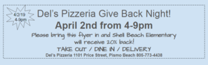 Del's Give Back Flyer