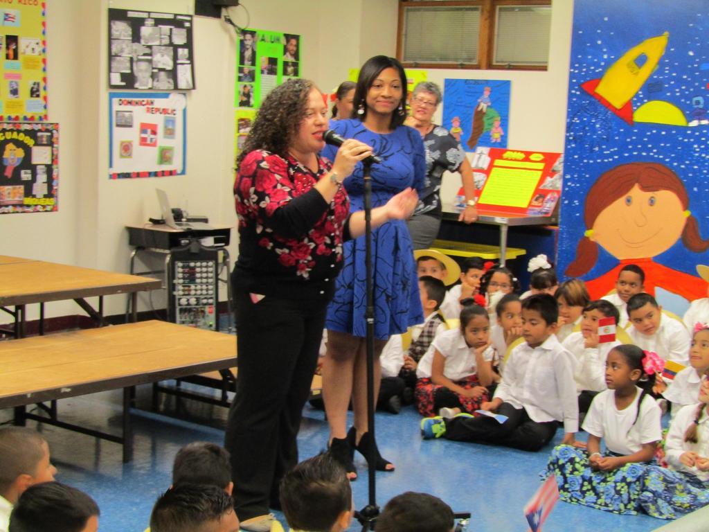 Mrs. Ramirez and Mrs. Bristol addressing the parents