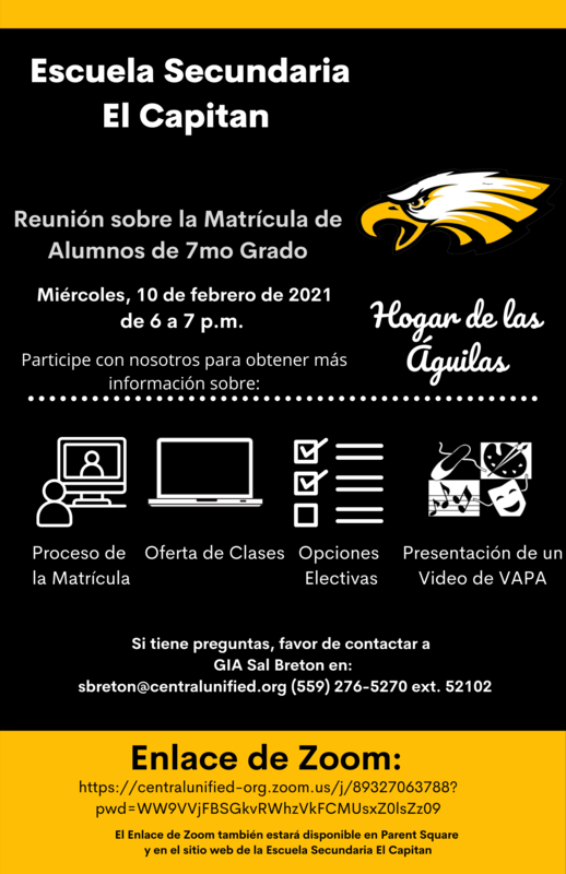 Flyer in Spanish for 7th Grade Registration