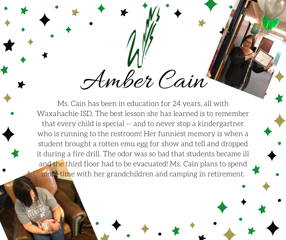 graphic announcing retirement of amber cain