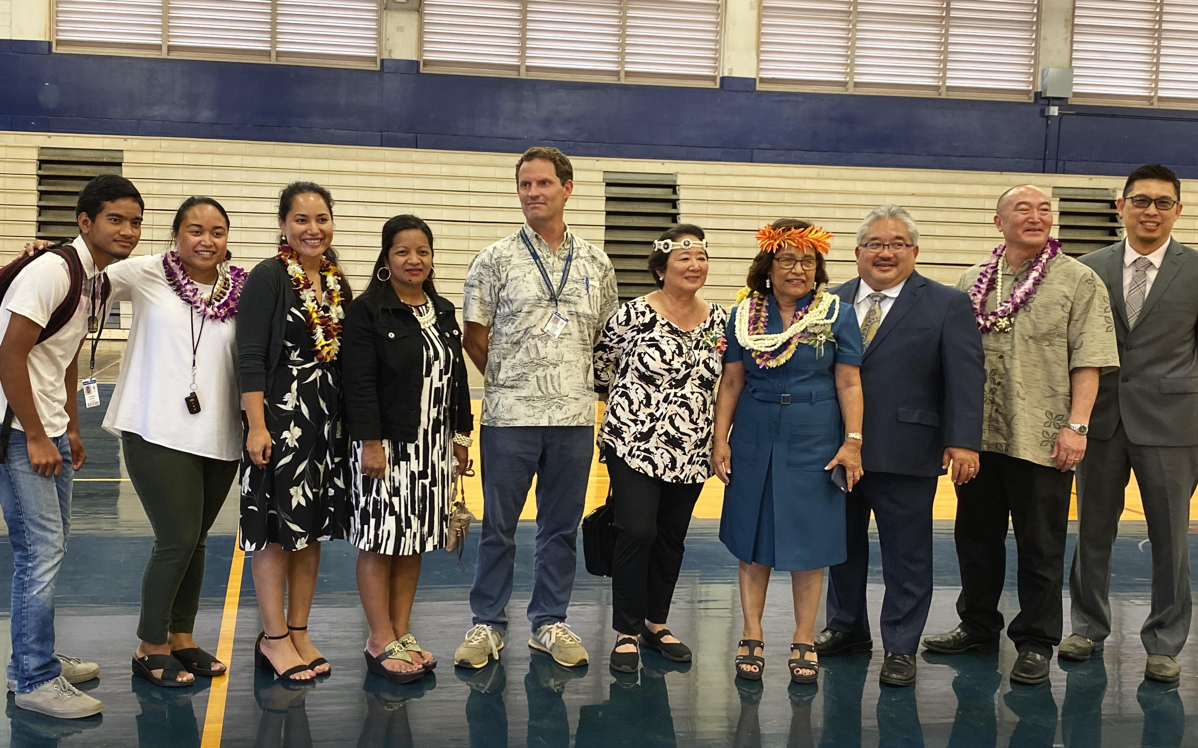 President Heine photographed with Mr. Keith Hui (Complex Area Superintendent), Mr. Keith Hayashi (WHS Prinicpal), and group from WHS.