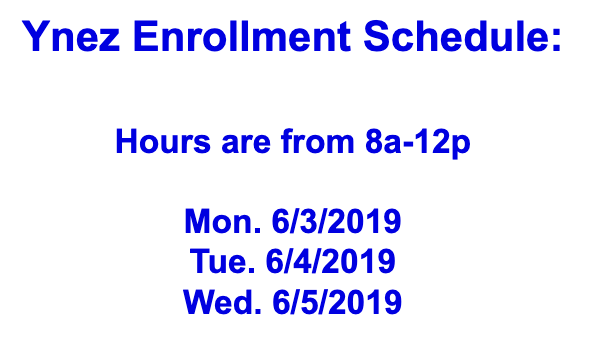 Ynez Enrollment Schedule Featured Photo