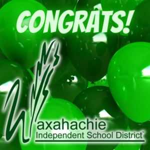 graphic with WISD logo over green balloons reads congrats