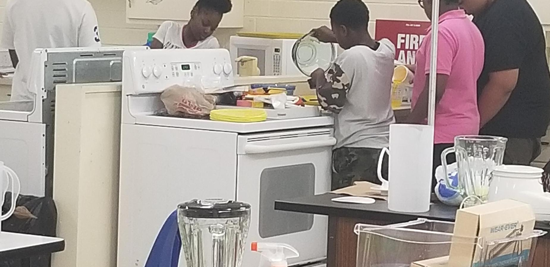 Students cooking in Family Consumer Science Class