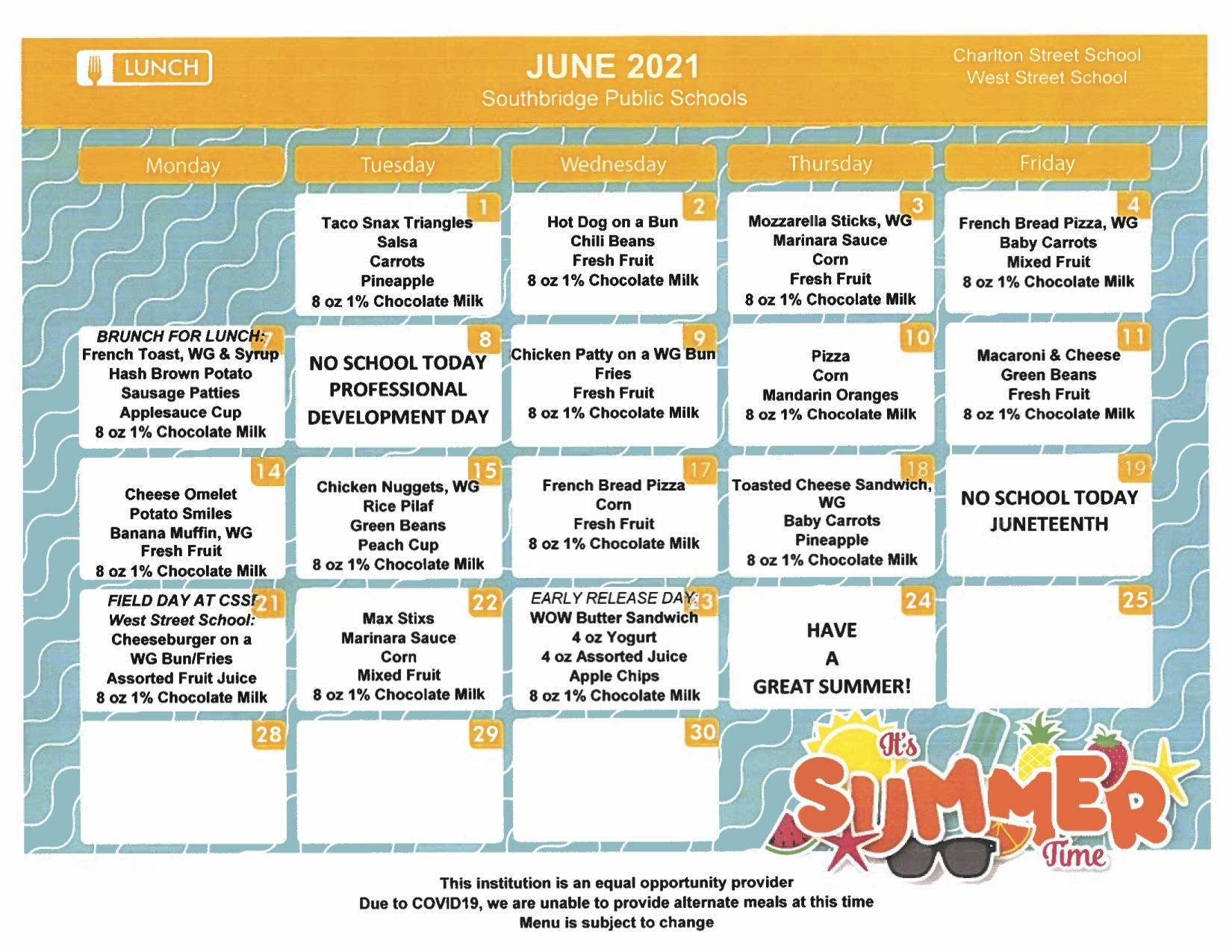 lunch menus for June 2021 - Charlton Street and West Street Schools