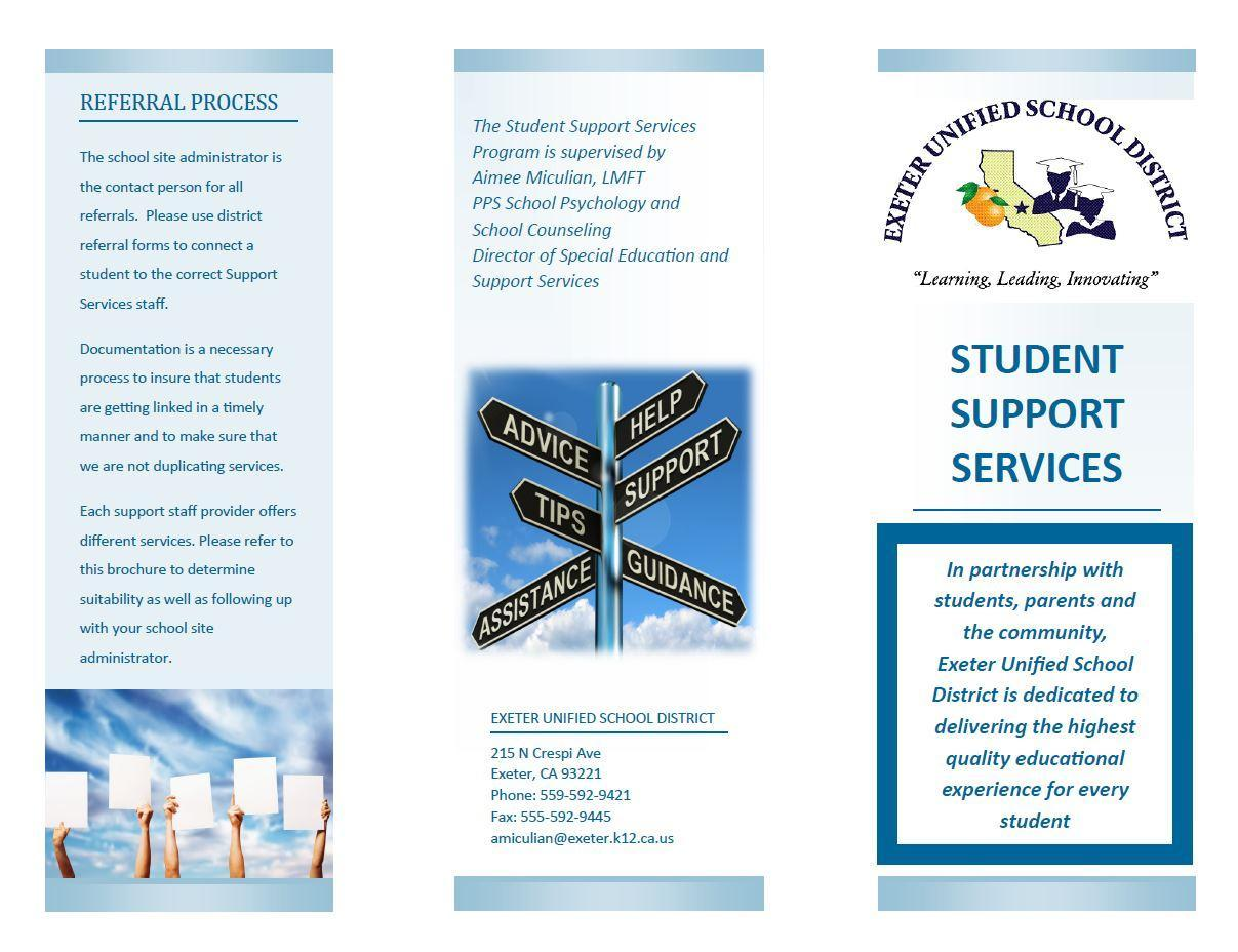 EUSD student support services resources brochure page 1