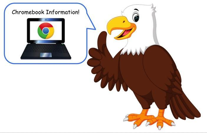 Cartoon eagle with chromebook