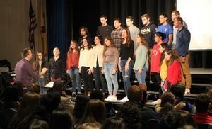 The WHS Choraleers, directed by music/vocal instructor John Brzozowski, sang a traditional African-American spiritual by American composer William Dawson and a song about Martin Luther King, Jr. by the Irish rock group U2, during a Black History Month assembly on Feb 1.