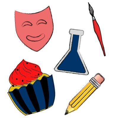 Cartoon images of theatre mask, cupcake, science beeker, pencil, and paintbrush.