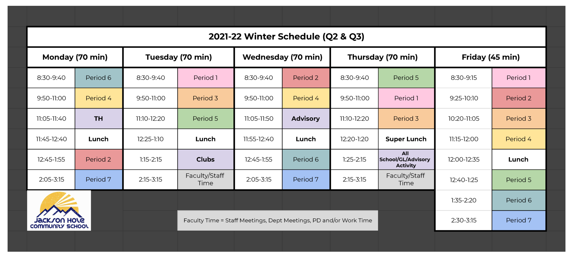 JHCS 2122 Daily Schedule Q2 and Q3