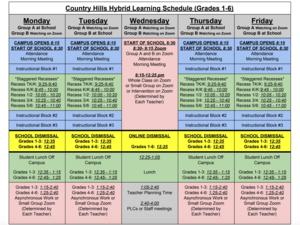 Daily Schedule Grades 1-6