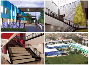 Renderings of front of new school with a sign that says