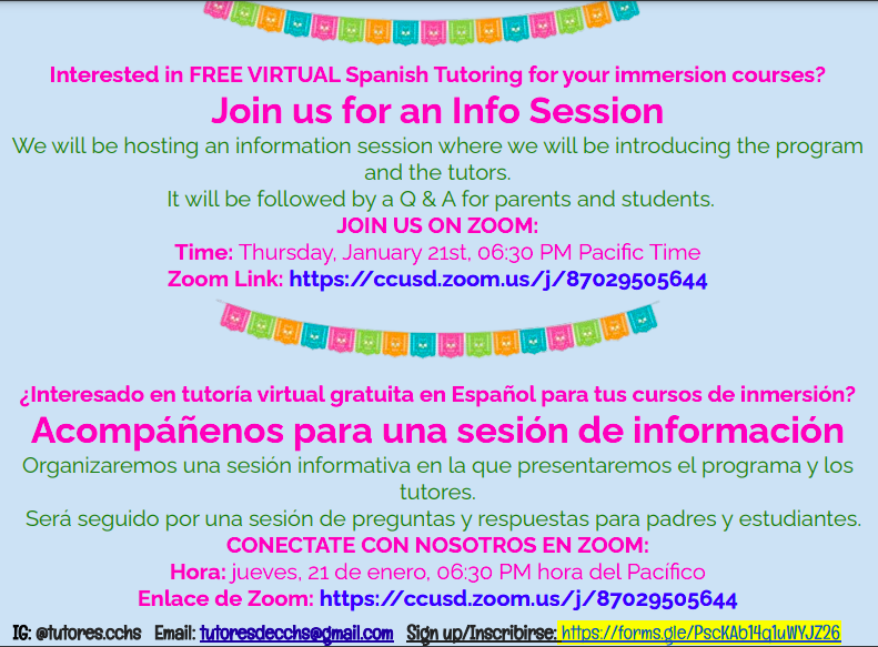 Free Tutoring for Spanish Immersion Students Thumbnail Image