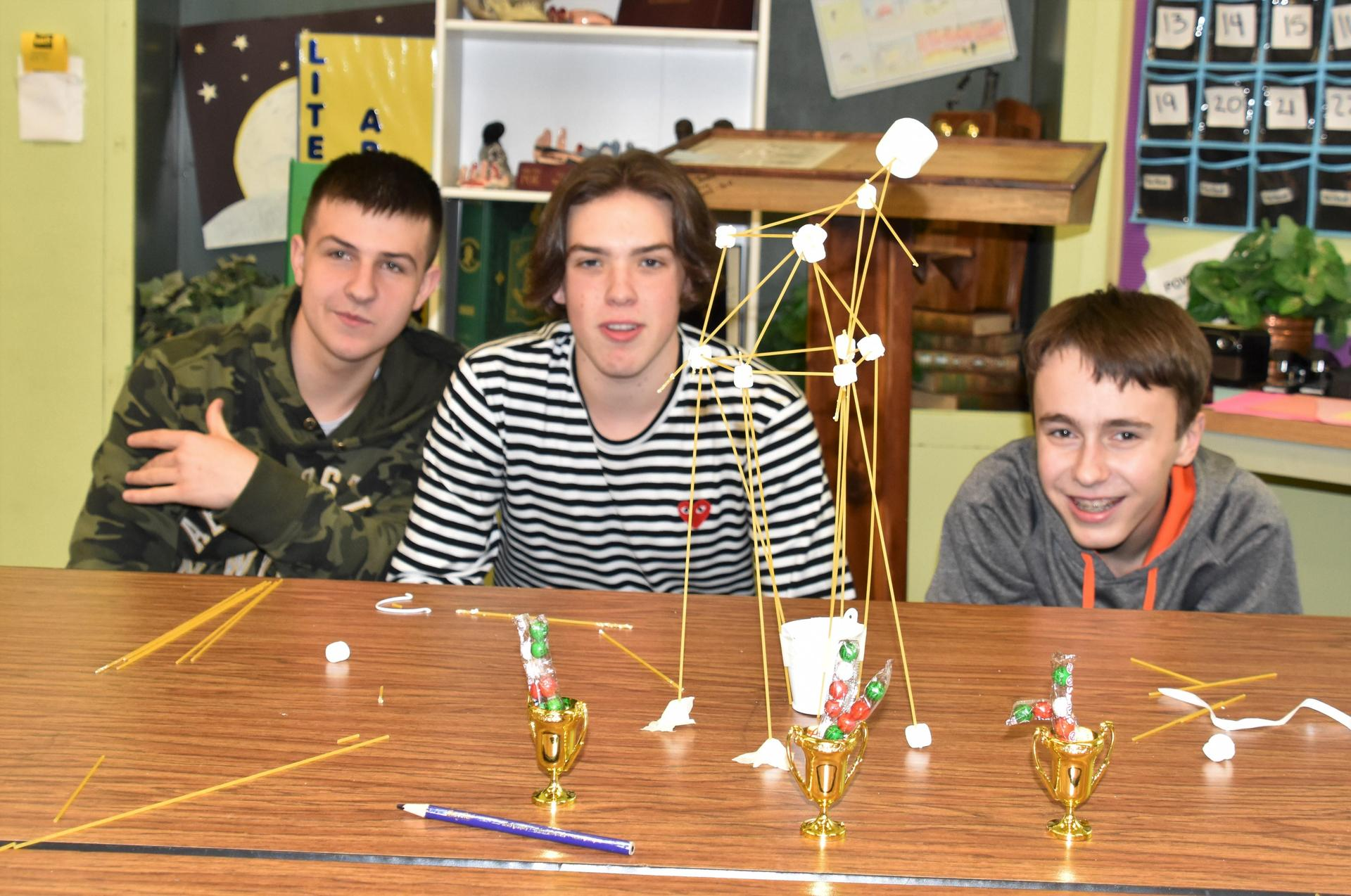 Winning team for building a tower out of sphagetti & marshmallows